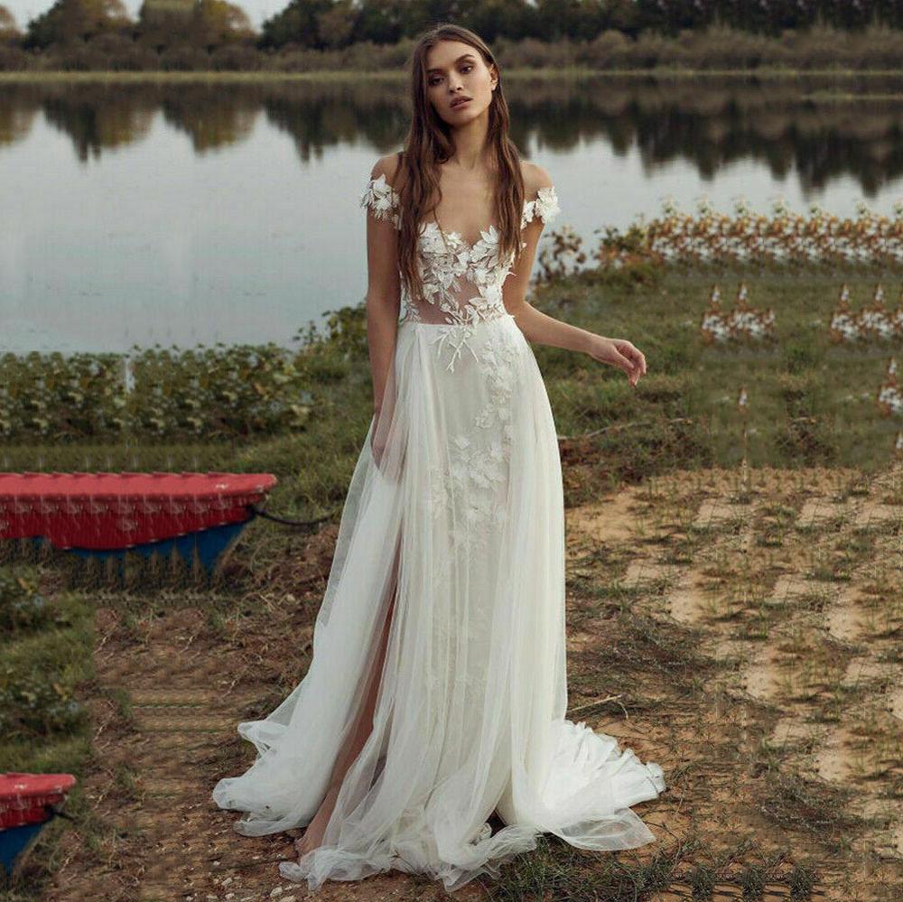 2020 Boho Wedding Dresses Off The Shoulder 3D Floral Lace Appliques Bridal Dress Slit Garden Wedding Gown Vestido De Noiva