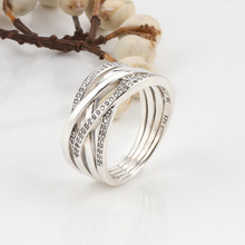 Hot Sale 925 Sterling Silver Twining Ring Hollow Interweaving Fashion Pan For Women Wedding Party Gift Jewelry