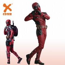 2016 Cool New Movie Deadpool Costume Superhero Wade Wilson Cosplay PU Outfit With Helmet Belt Xcoser