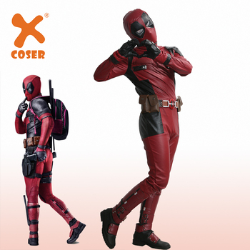 XCOSER Hot Sale Deadpool Superhero Wade Wilson Cosplay Costume High Quality Deluxe PU Outfit Men Cool Movie Costumes