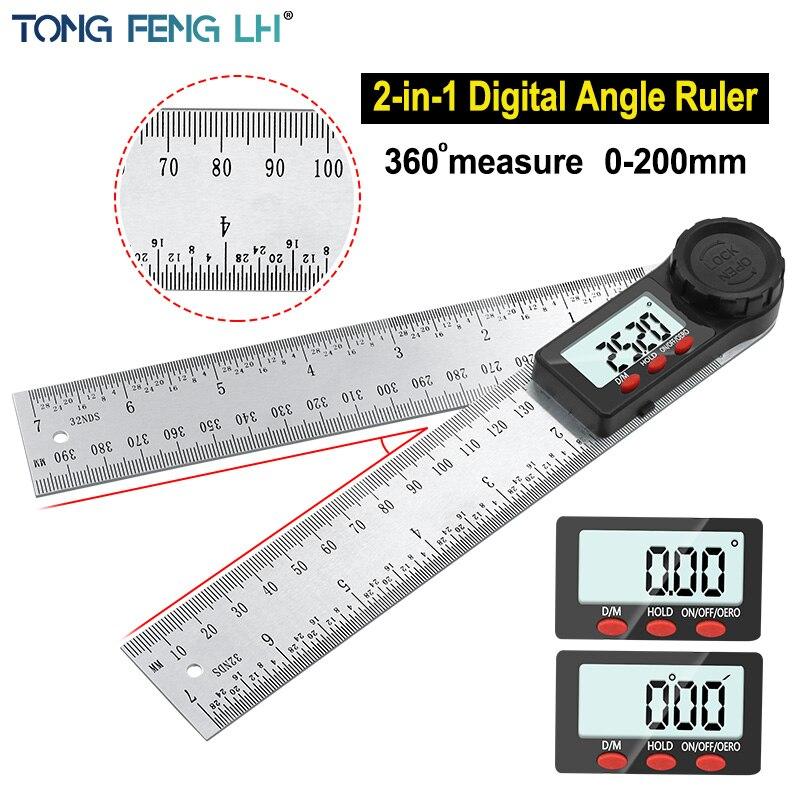 דיגיטלי מד זוית זווית שליט 200mm 8 אינץ זווית Finder מד נירוסטה 360 תואר goniometer מד שיפוע