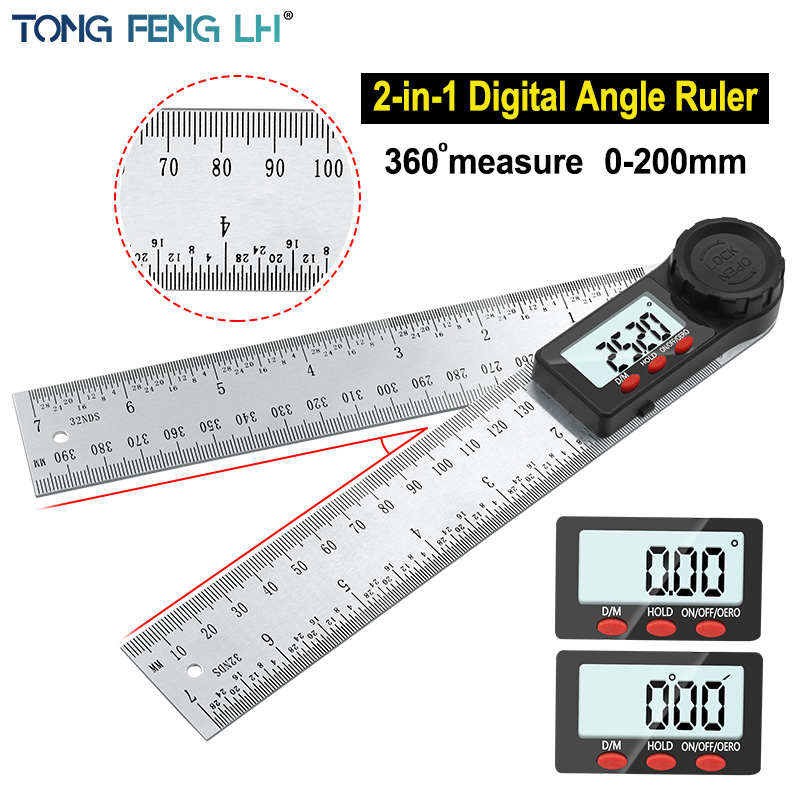 Цифровой транспортир, угломер 200 мм, 8 дюймов, Измеритель угла из нержавеющей стали, Гониометр 360 градусов, инклинометр