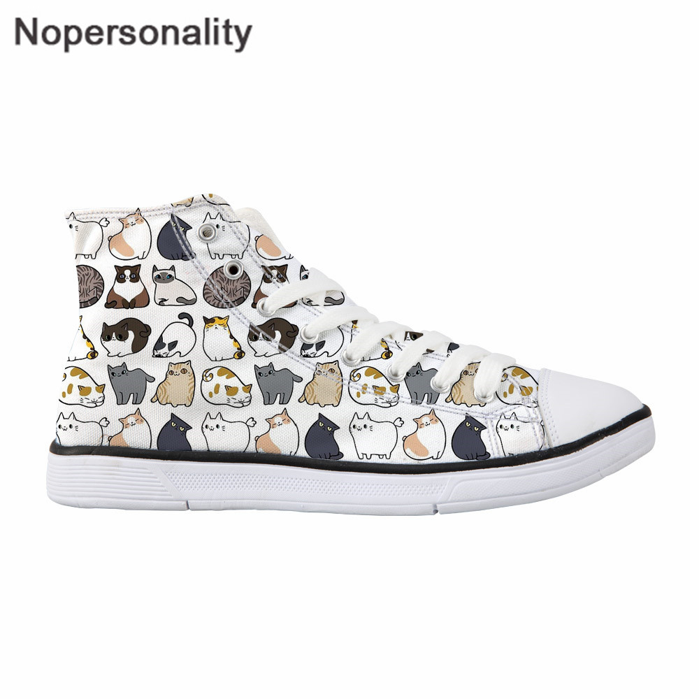 Nopersonality High Top Shoes <font><b>Suspicious</b></font> Cats Prints Comfortable Women Casual Shoes Cartoon Cat Lace Up Trainers White Sneakers image