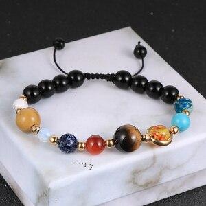 Galaxy Solar System Bracelet Universe Eight Planets Bead Natural Stone Stars Earth Chakra Bracelet For Women Man Fashion Jewelry