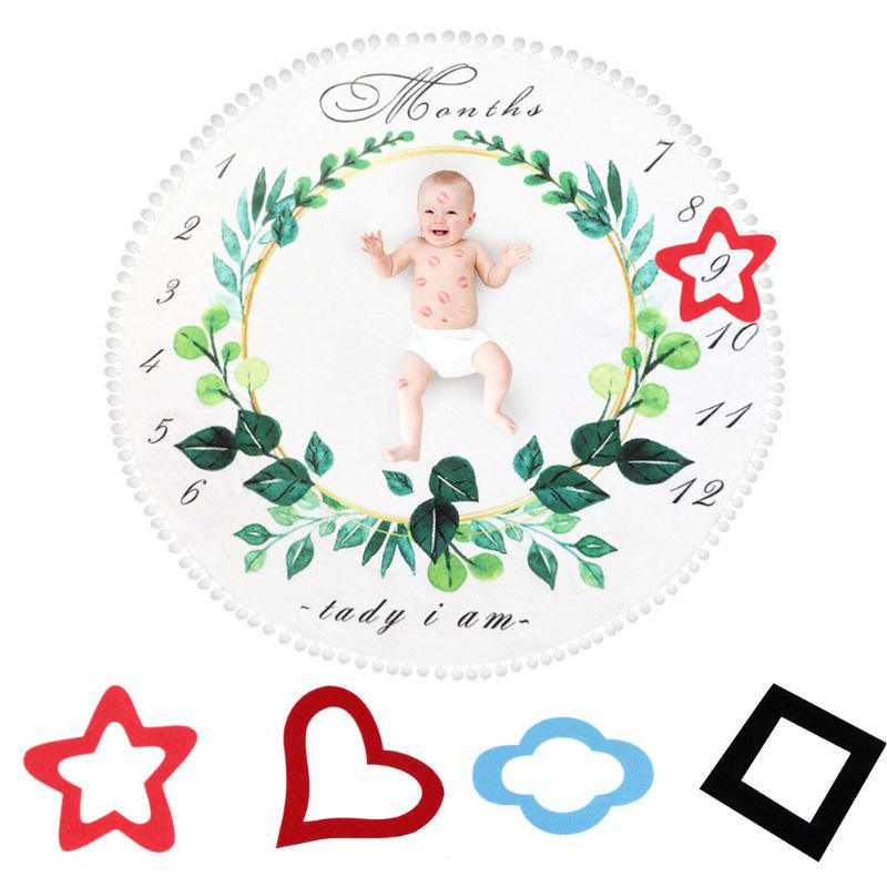 Monthly Milestone Baby Blankets Swaddle Wrap Cute Soft Blanket Newborn Bathing Towels DIY Kids Photography Props