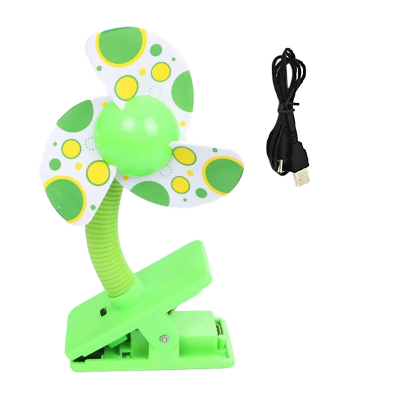 Clip-on With USB Mini Stroller Fan For Baby Cots Playpens (Green)