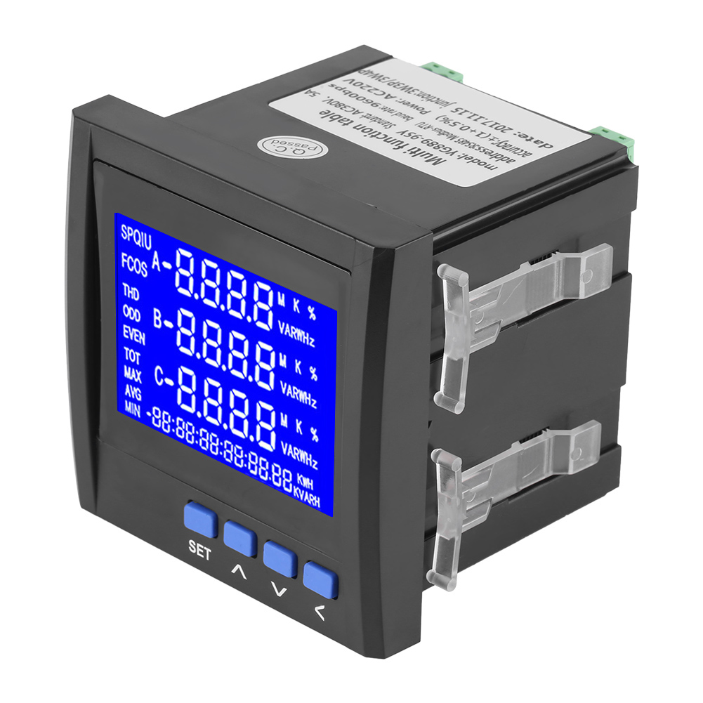 Multifunction 3-Phase Electric Current Voltage Frequency Power Energy Meter V A Hz KWh RS485 Power Met Power Meter