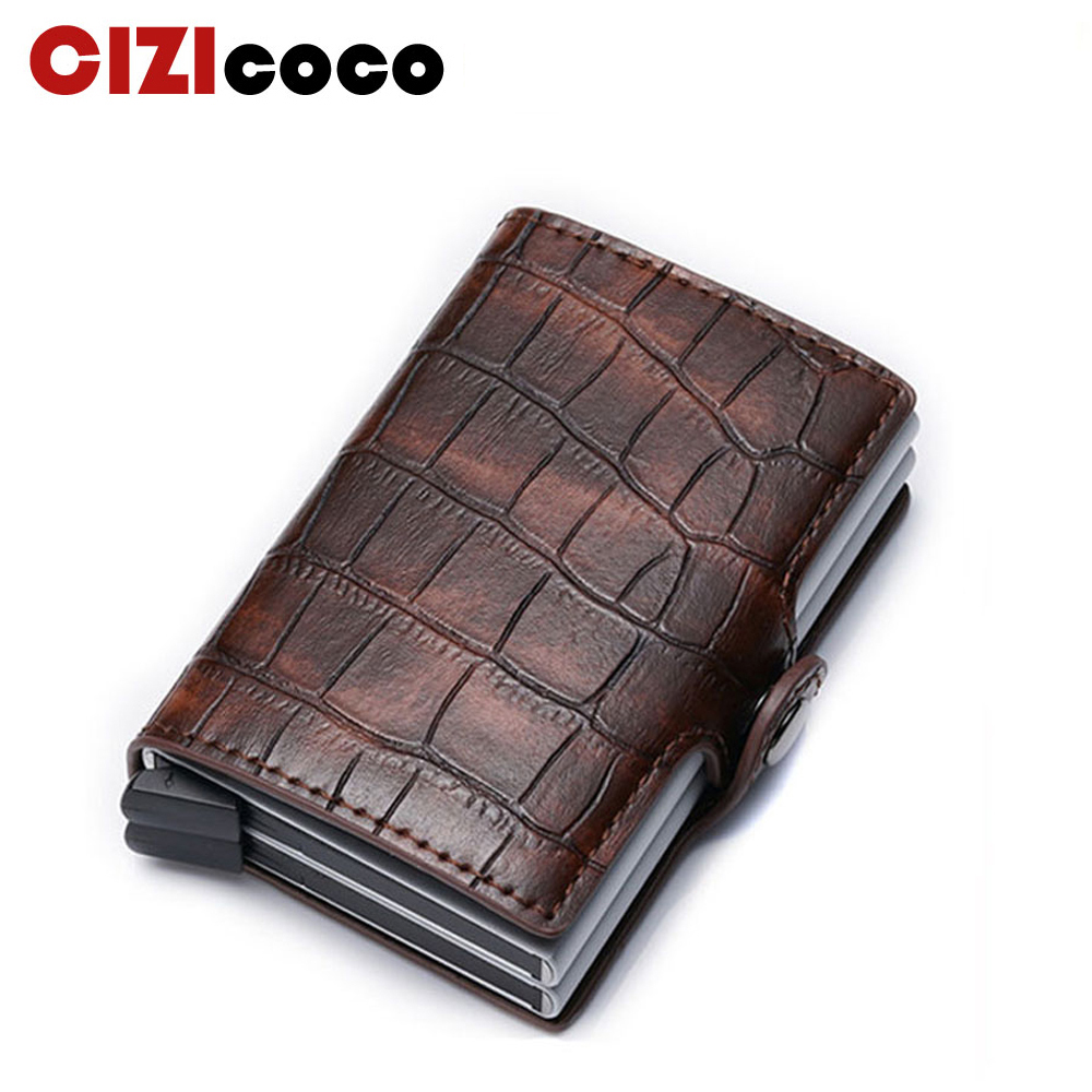 New Card Holder RFID Blocking Aluminium Business ID Credit Card Holder Men Slim Double Case Wallet Purse