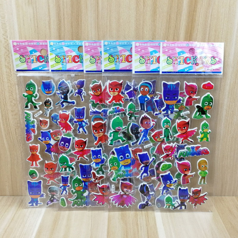 18 Pcs Pj Mask Model Stickers Catboy Owlette Gekko Children Paste Puzzle Masked Cartoon Reward Stickers Gift For Kid
