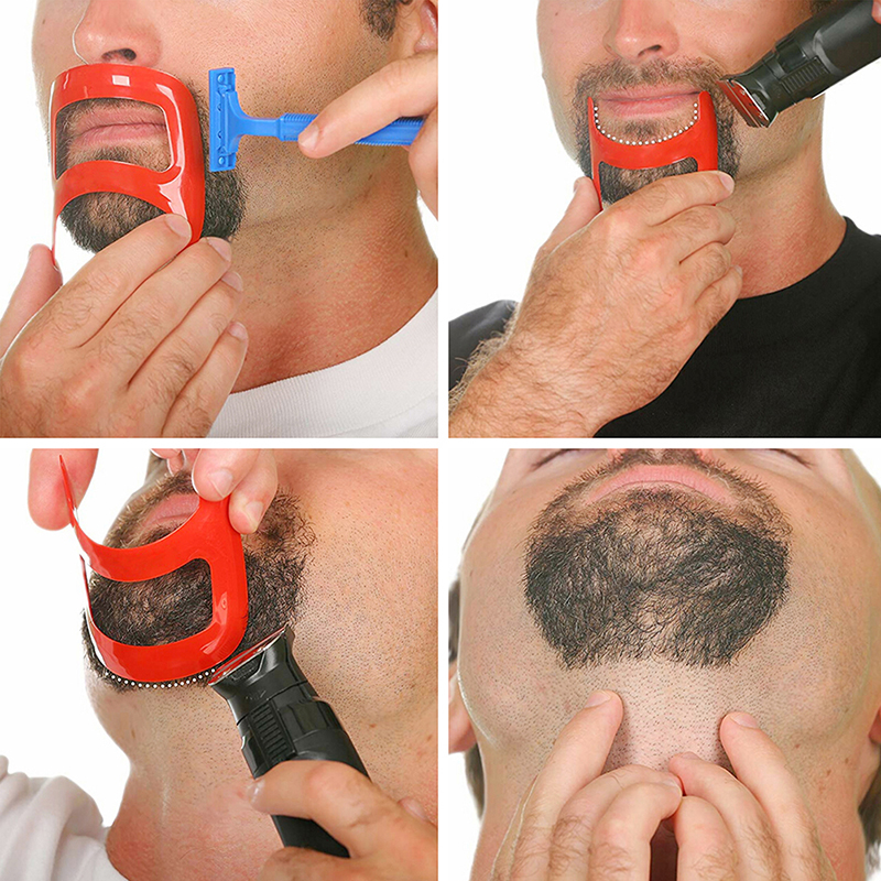 1Pcs Template Guide Design Mustache Beard Goatee Shaving Beard Brush Fashion Style Mens Shaving Brush Mens Tool