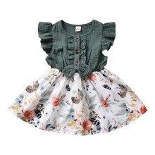 Pudcoco vestido de verão 1-5years bebê meninas bowknot floral impressão babados manga retalhos comprimento a linha vestido