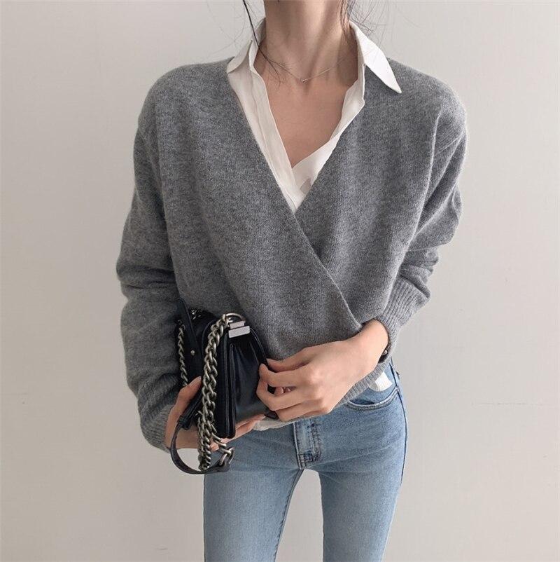Женский элегантный пуловер с v образным вырезом вязаный свитер