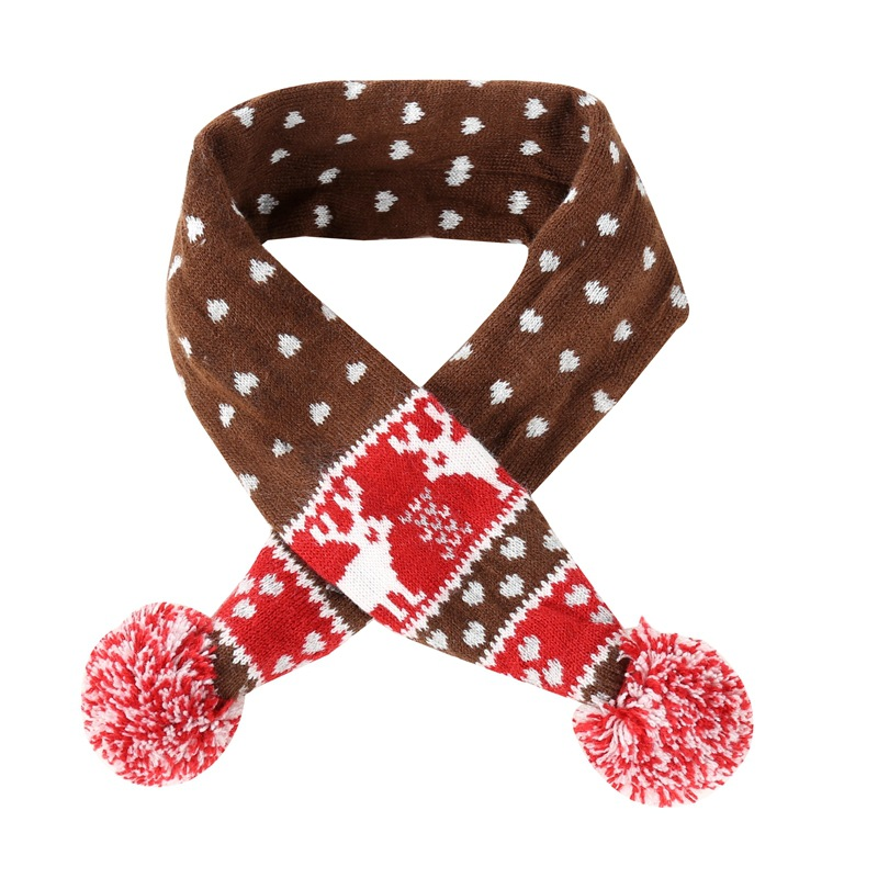 Hot Selling Christmas Pet Scarf Autumn And Winter Warm Coffee Elk Christmas Dog In-ground Fence Receiver Collar Festival Decorat