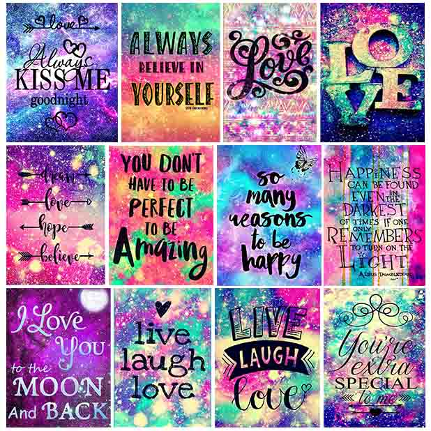 5D Diamond Painting Encourage Phrase Words Colored Text Full Drill Cross Stitch Crystal Art Mosaic Diamond Embroidery Paintings