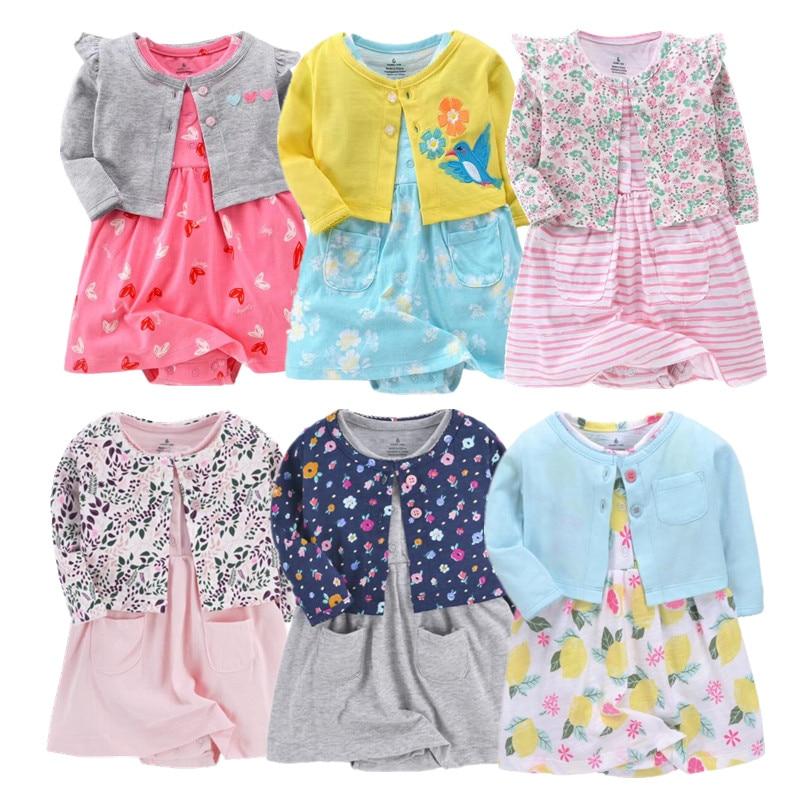 Conjunto de roupas de algodão para bebês, recém-nascidos, meninas, verão, vestido fofo para 6-24m 2020 roupas de bebê, roupas da moda