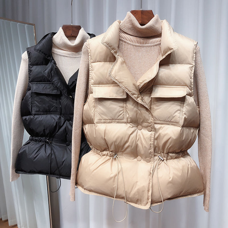 2020 Women's Autumn White Duck Down Warm Vest Sleeveless Women Down Coat Parka Vests Female Winter Solid Casual Woman Jacket