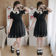 Lolita Girl Dress Japanese Soft Sister Long Sleeve Cross Six-Pointed Star Mesh Skirt Short