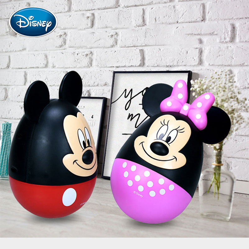 Disney Tumbler Piggy Bank Mickey Minnie Coin Box  Kids Birthday Gifts Children Toy