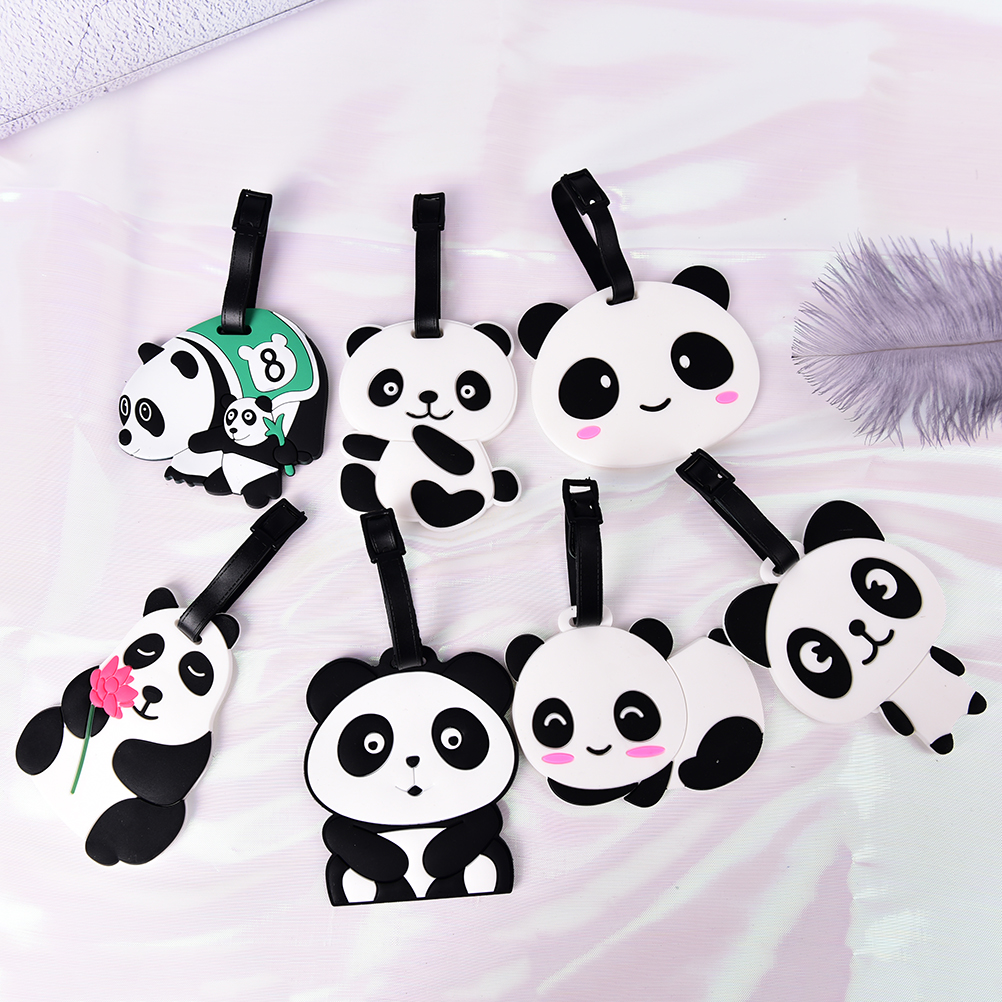 1PCS Portable Label Cartoon Animal Panda Luggage Tag Silicone Suitcase ID Address Holder Baggage Tag Randomly Travel Accessories
