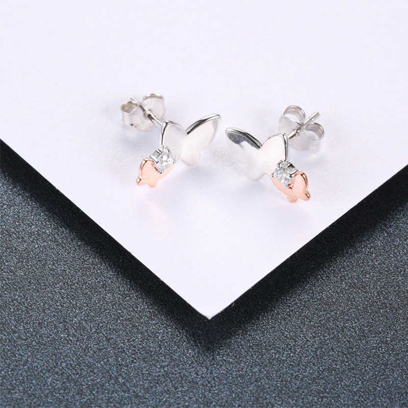 Strollgirl New 100% 925 Sterling Silver Cute Animal butterfly with CZ Stud Earrings for Women  2019 Party Fashion Jewelry Gifts