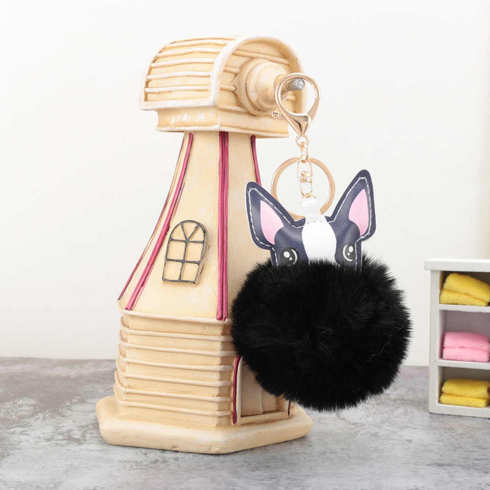 Llaveros de bola peludos para perros, llaveros de pompón para coche, llaveros de borla, llaveros para mujer, accesorios de regalo de joyería