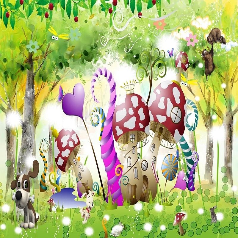 Custom Large Mural 3D Wallpaper Cartoon Fantasy World Animal Child Bedroom Mural TV Back Wall Decor Deep 5D Embossed