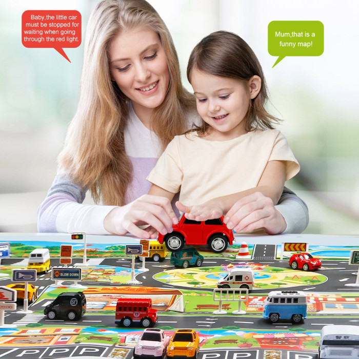 H5a0305665d6d4919b6319ef7e73409fcE Hot Selling 130*100cm Children Play Mats House Traffic Road Signs Car Model Parking City Scene Map