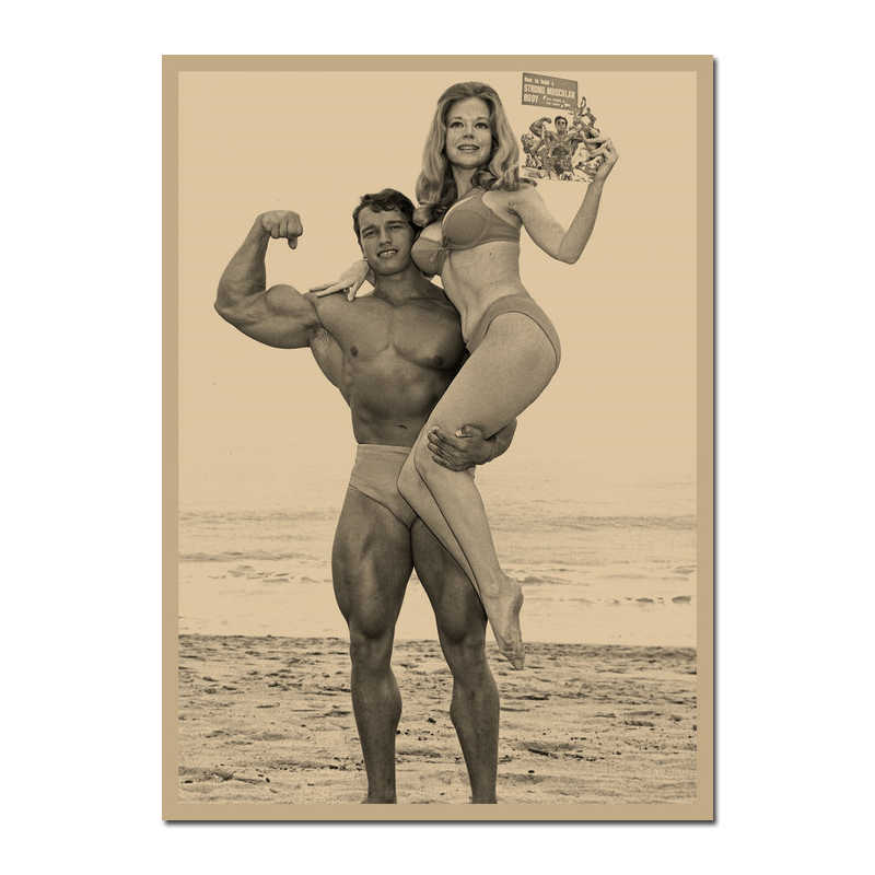Canvas Print Arnold Schwarzenegger Retro Poster Bodybuilding Motivatie Poster Voor Woonkamer Decor Bar Decoratie-010
