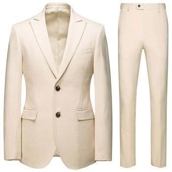 New Arrival Casual Suit for Boy 2 Piece Set Men Business Suit Plus Size Groom Suit Men Suits Blazer and Pants Beige Party Wear
