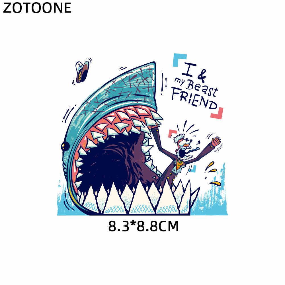Tubarão flor roupas adesivos ferro em remendos diy transferência de calor remendo para roupas menino menina camiseta apliques decoração