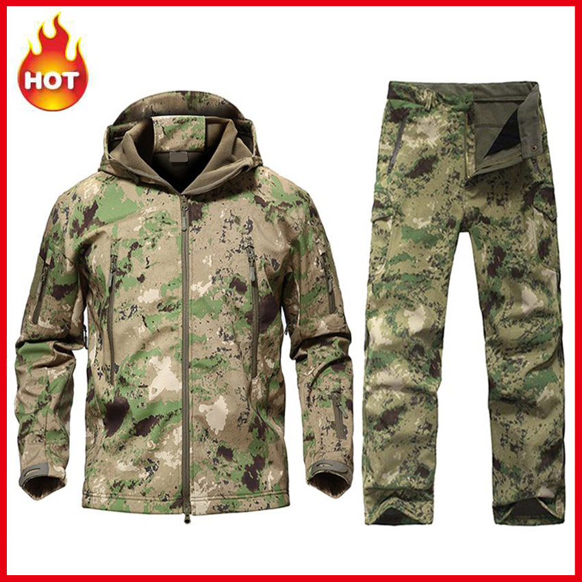 Men's TAD Softshell Tactical Jacket Military Suits Camouflage Hunting Clothes Jacket Or Pants Outdoor Sport For Climbing Hiking