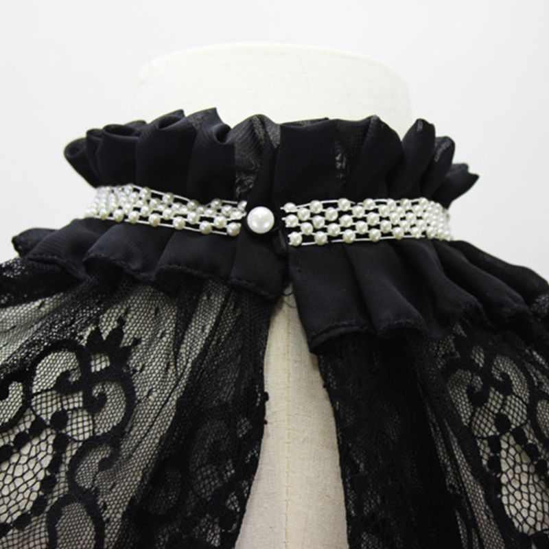 Women Women Hollow Out Embroidered Floral Lace Wedding Shawl Bolero Ruffles Pleated High Neck Fake Collar Faux Pearl Decor Shrug