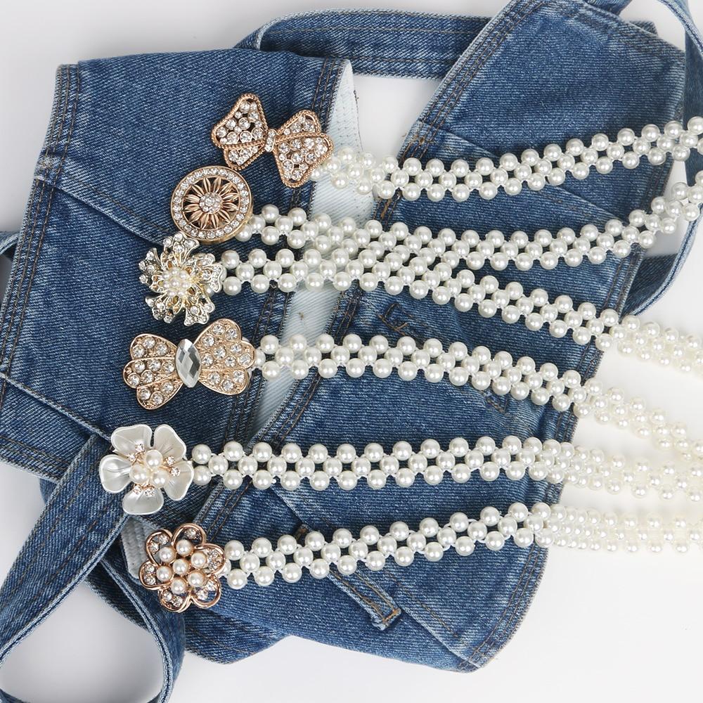 Elasticity Weave White Pearl Belt for ladies/girl beads Rhinestone strass Butterfly Flower Buckel rubber Weave Waist Decorative