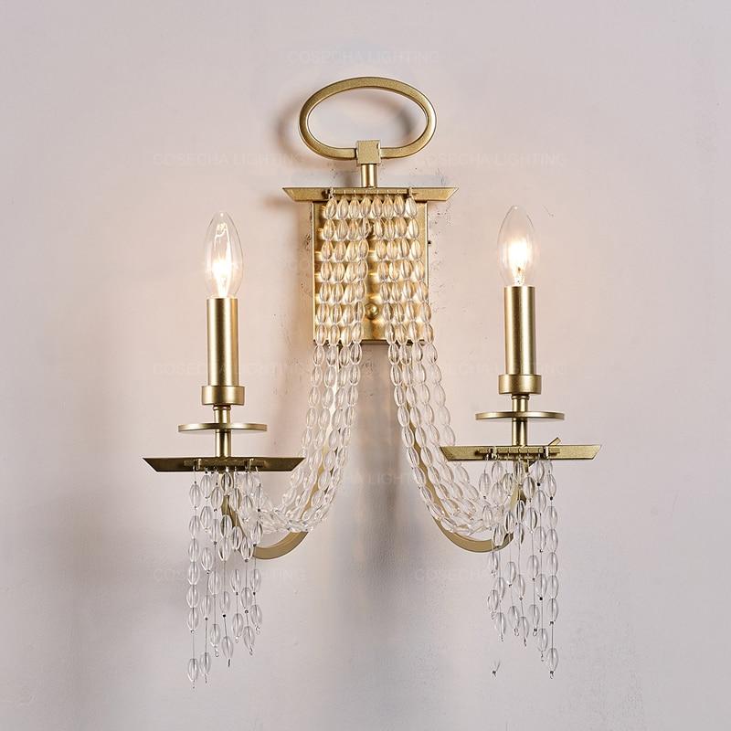 Frange lampe murale design perles de cristal applique murale de luxe Champagne or éclairage dans chevet luxe mur miroir lumière pour hôtel