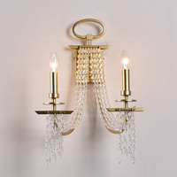 Fringe designer wall lamp crystal beads wall sconce luxury Champagne gold lighting in bedside luxury wall mirror light for hotel
