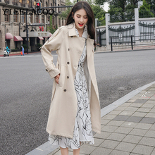 Trench Coat Women Double Breasted long section British wind spring / autumn wome