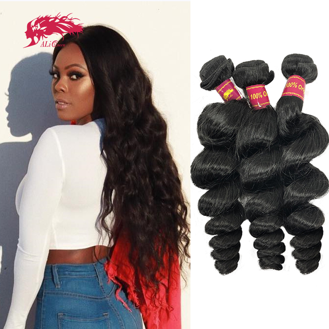 "Ali Queen Hair Brazilian Raw Virgin Hair Weave Bundles Loose Wave 10"" 30"" 100% Human Hair Weaving Natural Color Hair Extension"