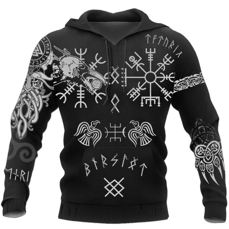 Hugin and Munin Viking Tattoo 3D Printed Men hoodies Harajuku Fashion Hooded Sweatshirt Autumn Unisex hoodie sudadera hombre