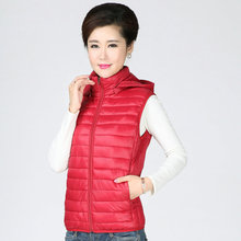 Women Puffer Hooded Vests Winter Autumn Lightweight Thermal Waistcoat With Hood Detachable Red Black Warm Quilted Vest For Woman color block detachable hood puffer jacket