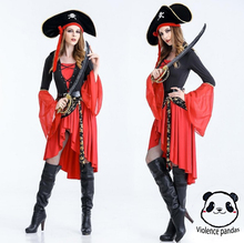 Halloween Costume Caribbean Pirate Witch Game Suit Uniform Tempt Night Club Cosplay dress