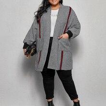 Long-Sleeve Elegant Coat Spring Winter Womens Fashion Plus-Size Casual Abaya Stitching