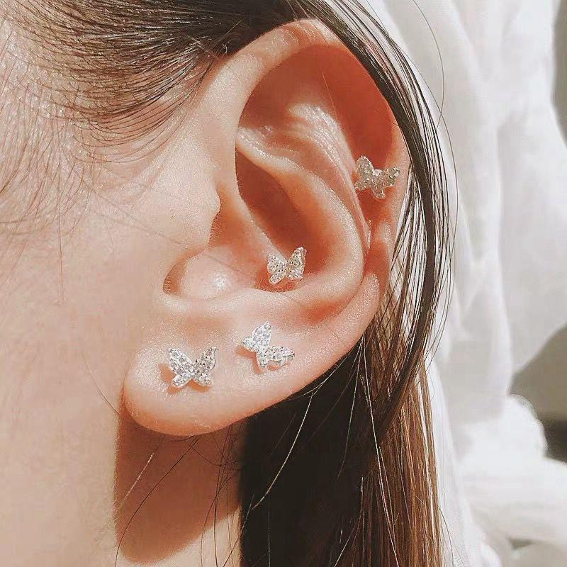2020 female New small crystal butterfly Earrings Sweet delicate Fashion Jewelry Women Earrings Boucle D 39 oreille in Stud Earrings from Jewelry amp Accessories