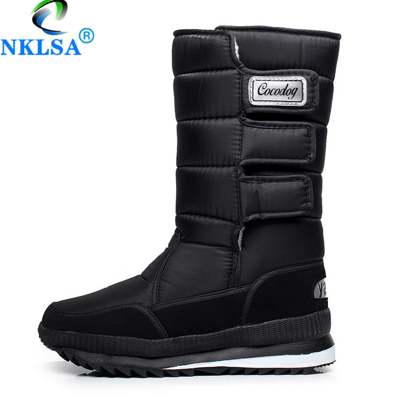 NKLSA 2019 Men Boots Platform Snow Boots For Men Thick Plush Waterproof Slip-resistant Winter Shoes Plus Size 39~47 Boots Women