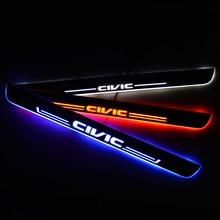 LED ประตูสำหรับ Honda CIVIC IX Saloon FB FG 2011 ประตู Scuff PLATE ENTRY GUARD ยินดีต้อนรับรถอุปกรณ์เสริม
