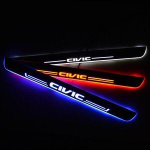 Image 1 - LED Instaplijsten Voor Honda CIVIC IX Saloon FB FG 2011 Deur Scuff Plaat Entry Guard Welkom Licht Auto Accessoires