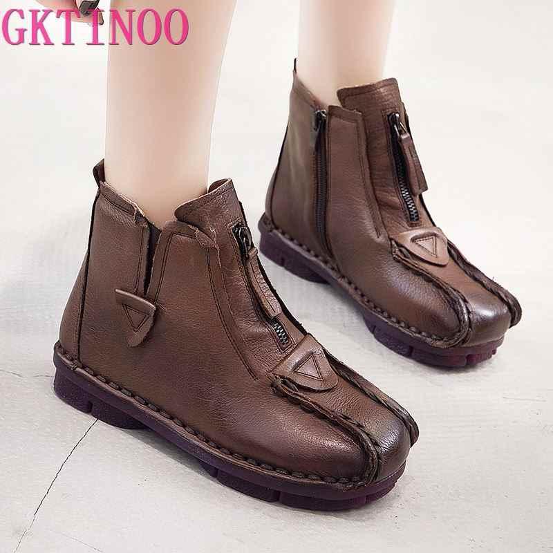 GKTINOO Echt Lederen Schoenen Vrouwen Laarzen 2020 Herfst Winter Vintage Handgemaakte Enkellaars Zachte Casual Platte Hakken Schoenen Vrouw