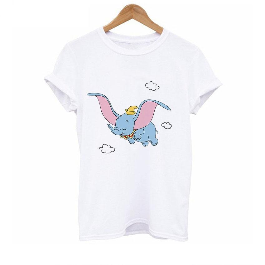 2019 T Shirt Women Cute Tshirt Woman Dumbo T Shirt Ladies Tee Shirts Funny Loose Style Kawaii Clothes Big Size Kawaii Top Drop