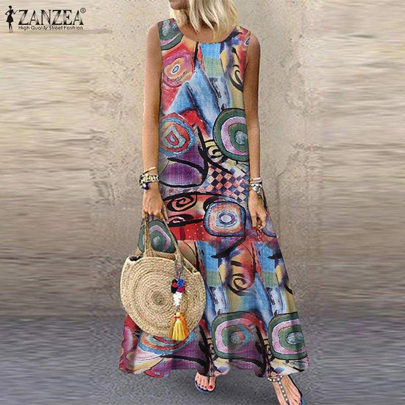ZANZEA 2019 Summer Printed Maxi Dress Women's Sundress Vintage O Neck Sleeveless Tunic Vestidos Plus Size Casual Robe Femme 5XL