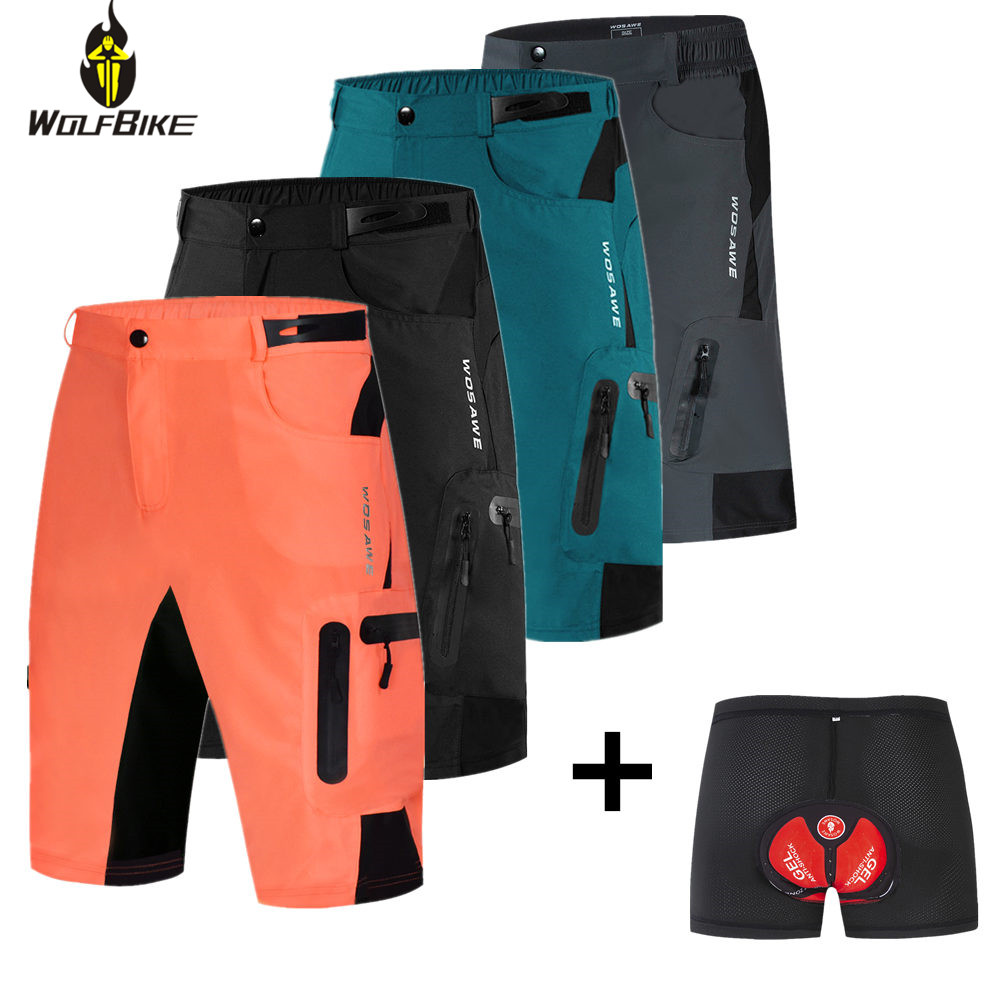 Wolfbike Men's Riding Cycling Shorts Outdoor Sports Water Repellent Breathable Bicycle Loose Fit Downhill Shorts Bike MTB Shorts