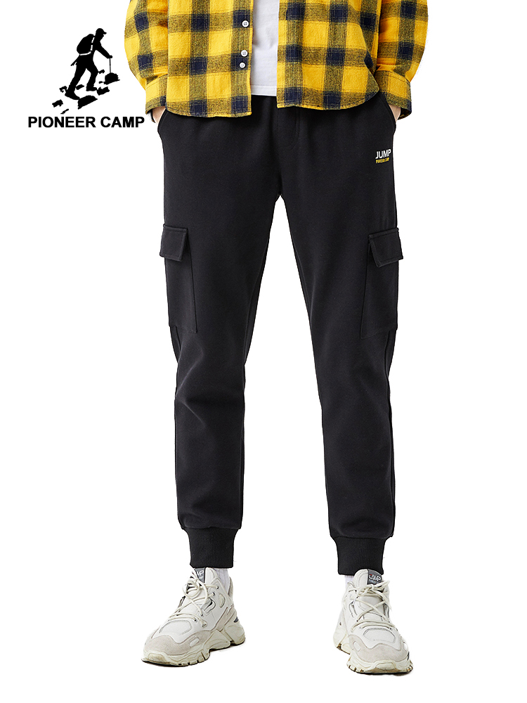 Pioneer Camp 2020 Spring Joggers Men With Pockets Causal Cotton Black Color Streetwear Men's Sweatpants AZZ0105022